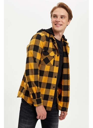 DeFacto Kapüşonlu Regular Fit Uzun Kollu Gömlek Sarı